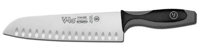"Dexter Russell V-lo 9"" Duo-Edge Santoku Style Cooks Knife. When you really want to get serious and cook like the pros, reach for this V-lo Santoku Style Cooks Knife. The duo-edge high-carbon edge blade is great for slicing thin boned and boneless meats, fish and vegetables.Item # 29283 Model #: V144-9GE-PCP Dexsteel™ Stain-Free, High Carbon Steel Blade Patented, State of the Art Handle Design Made in USA Soft to the Touch Handle, Yet Firm Perfect Cutlery Package for Display NSF Certified Modern, Attractive Look Blade has Individually Ground and Honed Edge Blade Length: 9"" Handle Length: 5"" Overall Length: 14"" 644450"
