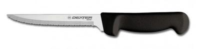 "Dexter Russell Basics 8"" Scalloped Utility Knife Black Handle 31628B P94848B"