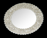 "Shell Mirror 15"" Diameter • White • Round"