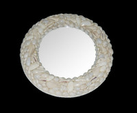 "Shell Mirror 8.5"" Diameter • Round • White"