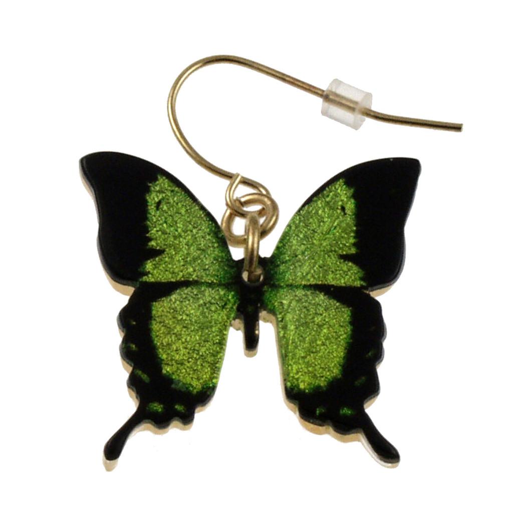 """4124-7 -Green Swallowtail Full Butterfly Earring 1""""W"""