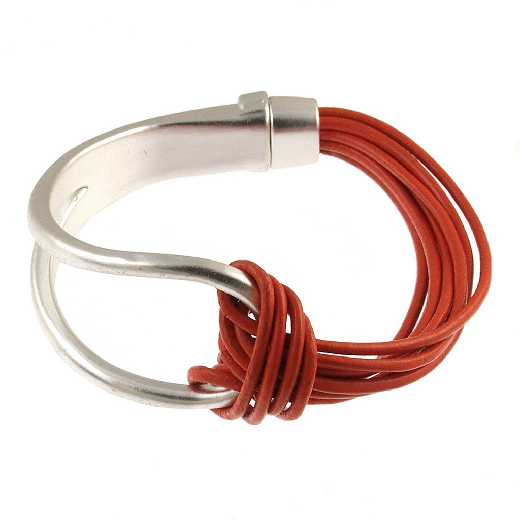 6065-7 - Matte Silver/Orange Leather Magnetic Bracelet