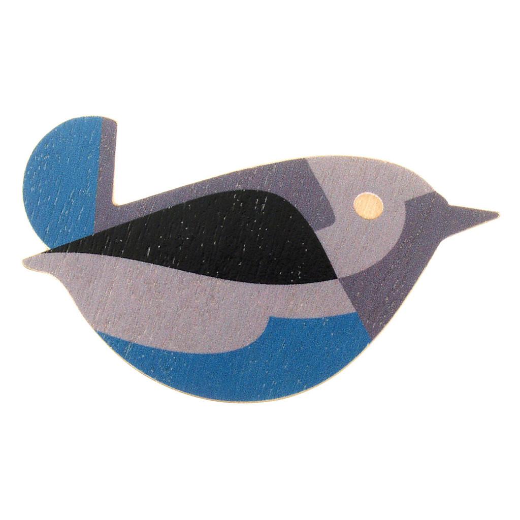 4020-1 - Blue Bird Wood Brooch
