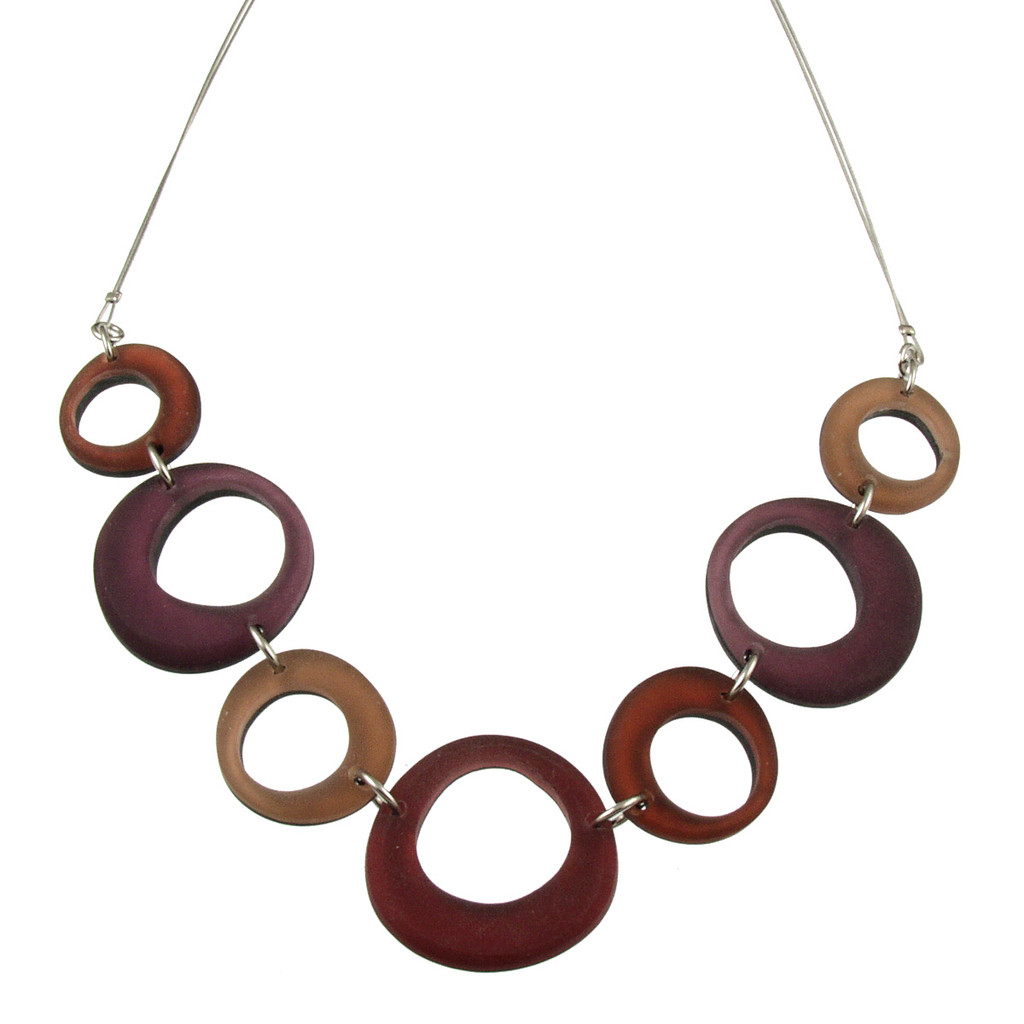 1723-41 - Hollow Circles Necklace Brown Combi