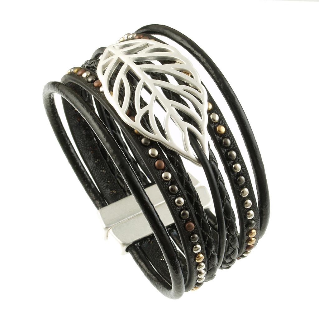 6193-4 - Matte Silver/Black Autumn Leaf Magnetic Bracelet