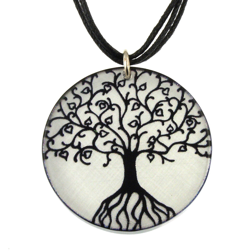 14130-34 -  Upcycled Small Black Tree Of Life Pendant On Cord