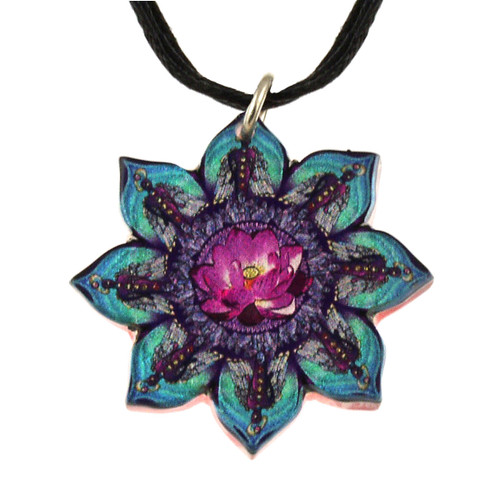 14130-71 - Upcycled Flower Shaped Kaleidoscope Pattern Pendant On Cord