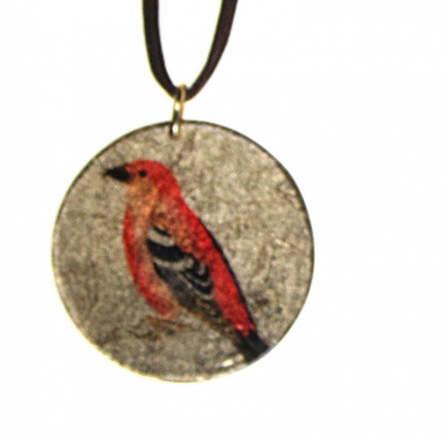 4130-102 -  Orange Bird On Perch Pendant On Cord