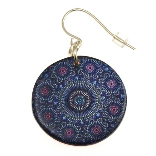 14120-9 - Upcycled Blue Kaleidoscope Earring