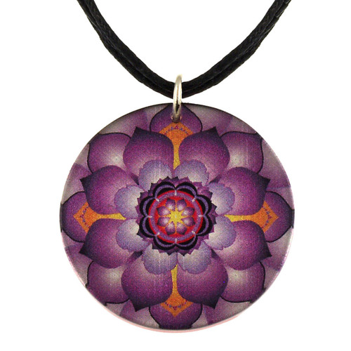 14130-6 -  Upcycled Small Purple Lotus Flower Pendant On Cord