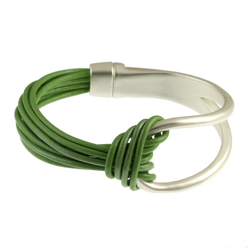 6065-104 - Matte Silver/Green Leather Magnetic Bracelet