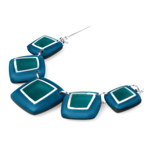 1868-2 - Irregular Squares Necklace Teal Combi