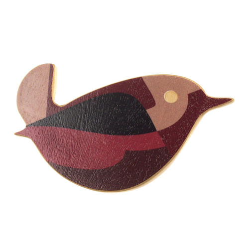 4020-4 - Brown Bird Wood Brooch