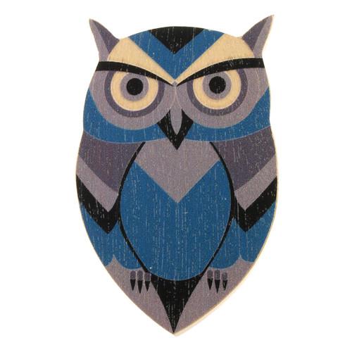 4022-1 - Blue Owl Wood Brooch
