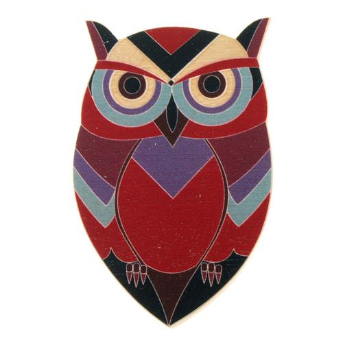 4022-2 - Red Owl Wood Brooch