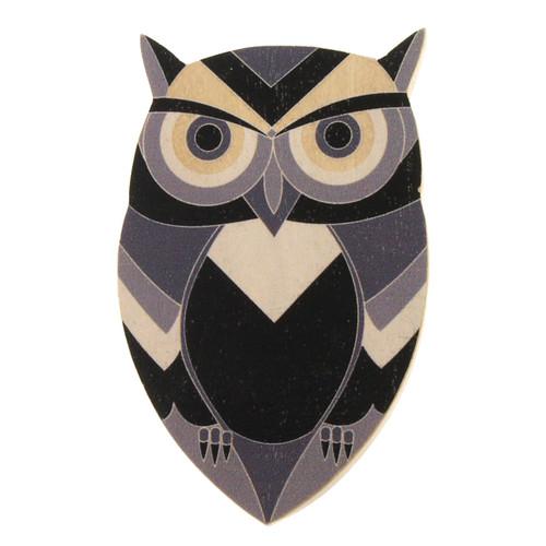 4022-3 - Black Owl Wood Brooch