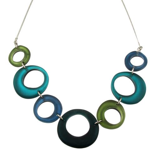 1723-31 - Hollow Circles Necklace Green Combi