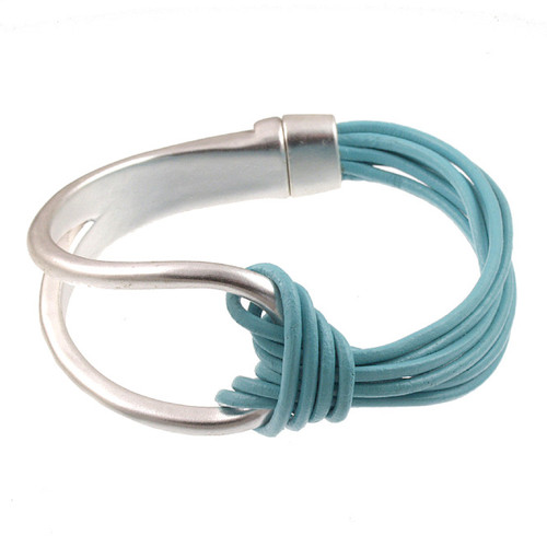 6065-106 - Matte Silver/Light Blue Leather Magnetic Bracelet