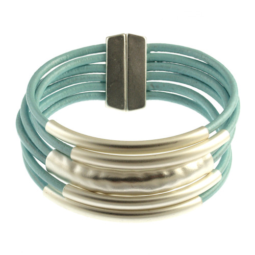 6105-106 - Matte Silver/Light Blue Magnetic Bracelet