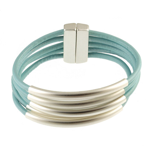 6104-106 - Matte Silver/Light Blue Tube Magnetic Bracelet