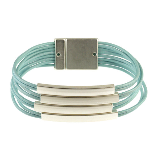 6161-106 - Matte Silver/Light Blue Magnetic Bracelet
