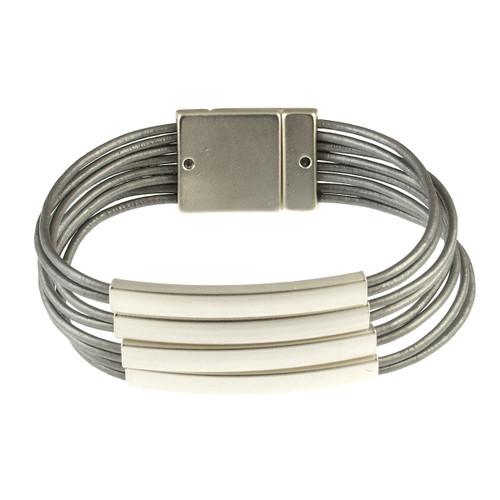 6161-1 - Matte Silver/Grey Magnetic Bracelet