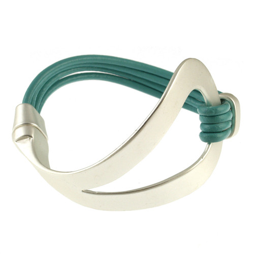 6042-5 - Matte Silver/Turquoise Magnetic Bracelet