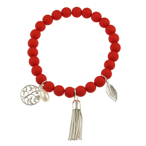 102-5 - Stretch Resin Coral Bracelet