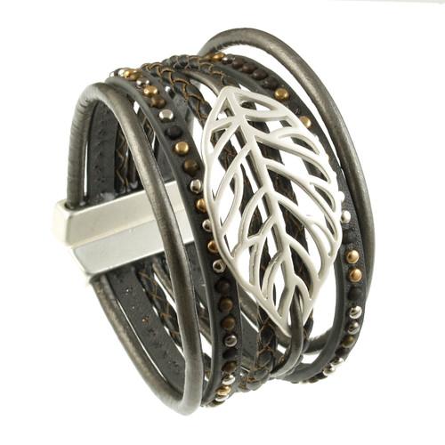 6193-1 - Matte Silver/Dark Grey Autumn Leaf Magnetic Bracelet