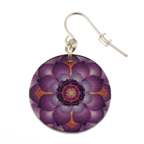 14120-6 - Upcycled Purple Lotus Flower Earring