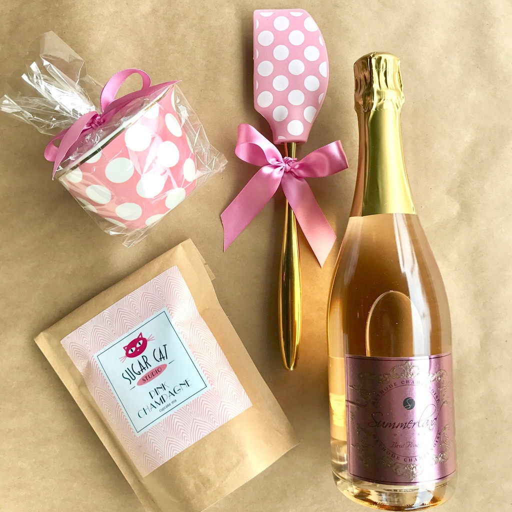 Pink Champagne Boozy Baking Contents