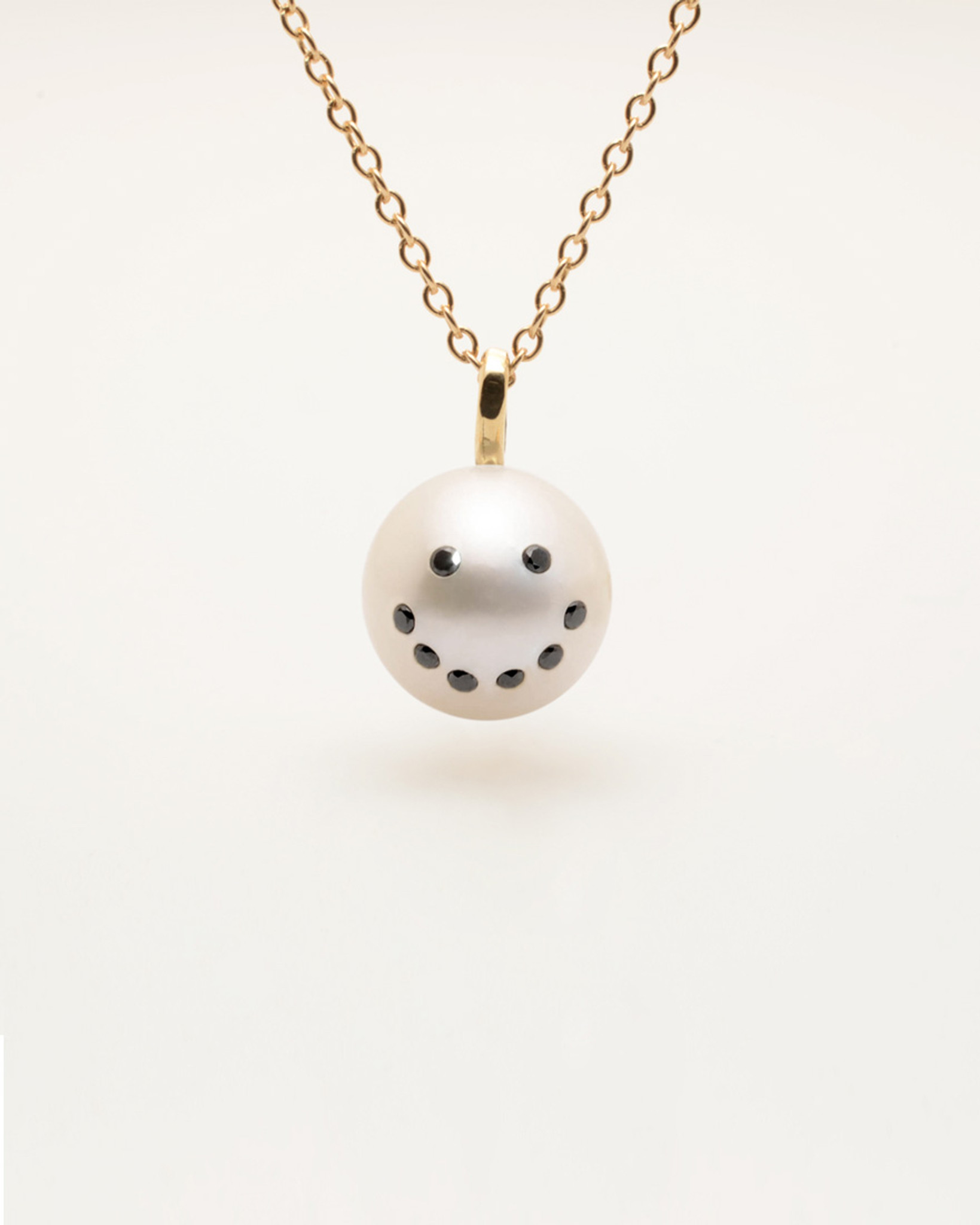 Our Bestselling Cultured Freshwater Pearl Charm Pendant Necklace with Smiley Emoji Diamond Pave and 14k Gold Chain by Nektar De Stagni (8-9 mm. Length 16 inches). The Perfect Gift.