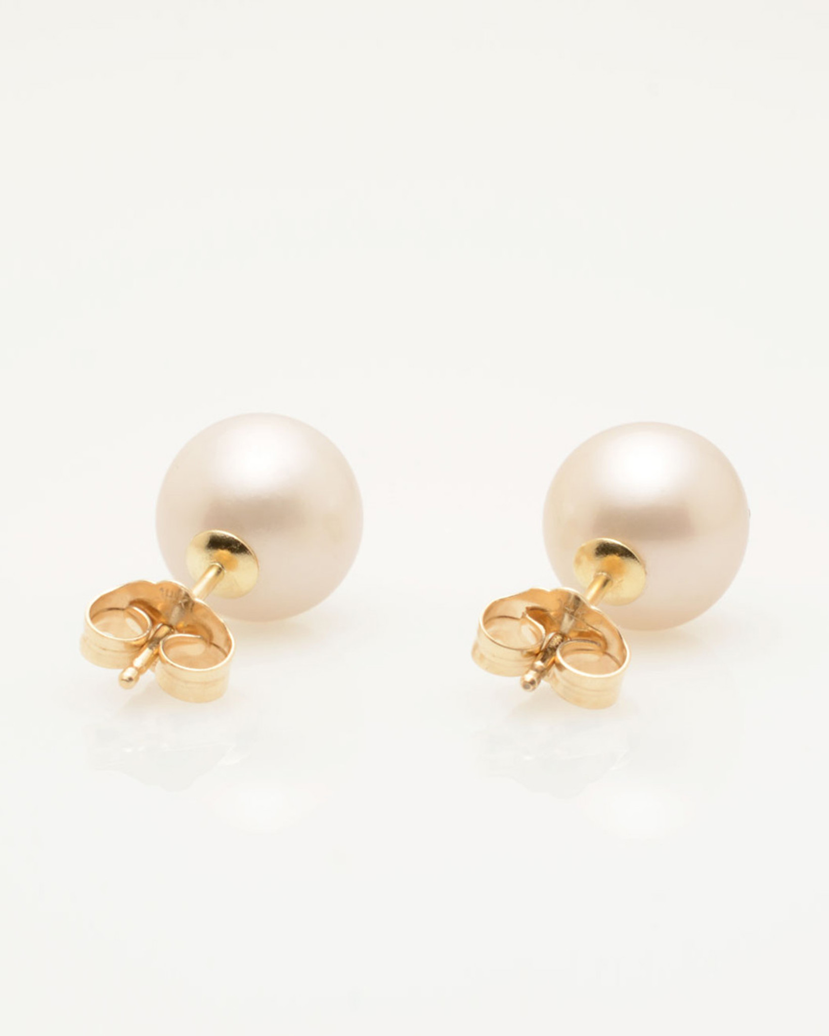 Back view of Cultured Freshwater Pearl Earrings with Smiley Emoji Diamond Pavè & 14k Gold Posts (8-9 mm) by Jewelry Designer Nektar De Stagni