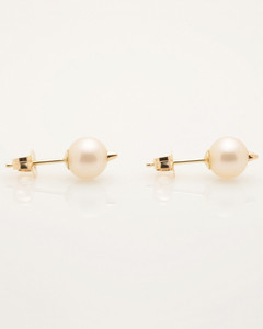 View 2 of Cultured Freshwater Pearl Earrings with 14k Gold Spikes and Posts by Nektar De Stagni (6.5 mm)