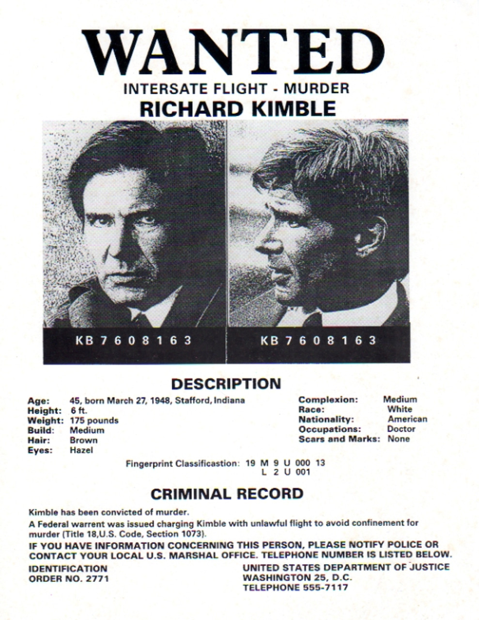 The Fugitive Real Prop Wanted Poster Harrison Ford Reel Art – Real Wanted Poster
