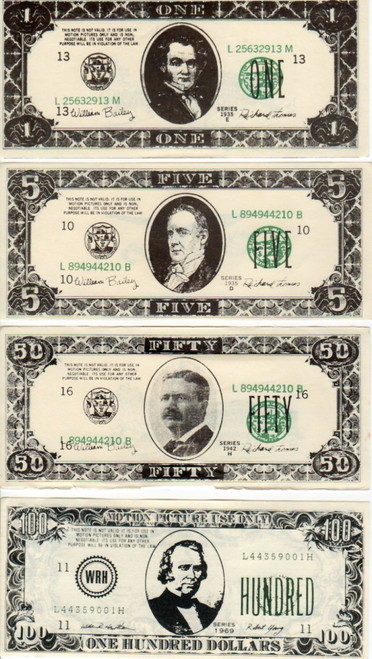 Front of all 4 Denominations