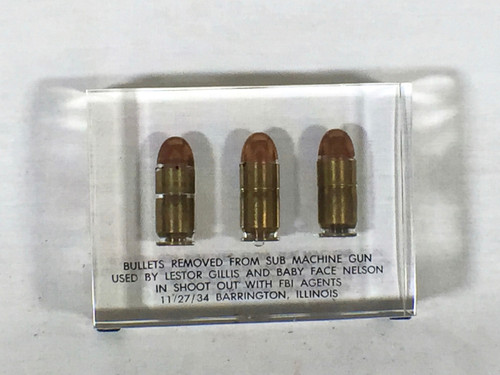 Baby Face Nelson Tommy Gun Bullets From Final Shootout Acrylic Display