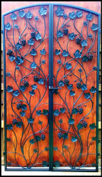 Artistic Grapevine Iron Wine Cellar Double Door - 48 to 60 inches wide and 80 to 96 inches tall
