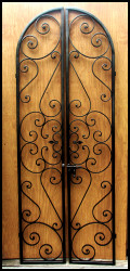 Forged Scroll Iron Wine Cellar Double Door
