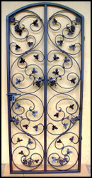 NEW! - Leaf Scroll Iron Gate with Grapes - 30 or 32 inches wide and 72 inches tall