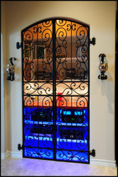 Tall Falcon Crest Double Iron Wine Cellar Gate