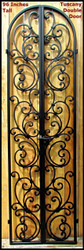 Tuscany Style Wrought Iron Wine Cellar Double Door - 96 inch tall doorway