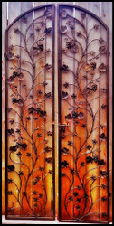 Artistic Double Grapevine & Leaf Iron Wine Cellar Door - 48 inches wide 96 inches tall