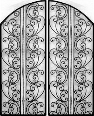 NEW!! Tuscany Style Wrought Iron Wine Cellar Double Door. 60 inches wide by 100 inches tall. Eyebrow Arch Top
