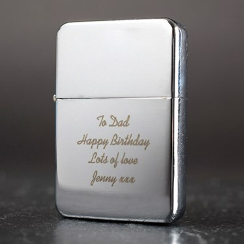 Perfect for someone who thinks they have everything; our sleek engraved lighter is a stunning memento and will be a staple addition to their back pocket! With its sleek silver finish and wind-resistant flame, it's ideal for collectors and tobacco-lovers alike.  Add a personal message to be expertly engraved over four lines onto the lighter - so they'll think of you each time they spark up! Perhaps add something about them being the 'light of your life' or you having a 'burning desire' or even the recipient being 'hot stuff'...the choice is entirely yours!  If you're looking for a special birthday present, Valentine's gift or maybe just a cool way to thank your best man then this is a great gift that's sure to light their fire!   What Can I Put On My Lighter?   Personalise it with a message to the recipient in up to 80 characters.   Use our innovative preview feature to see how it will look with your personalisation. Simply type in your chosen words and press the Preview button.   Fuel: Petrol  Dimensions: L5.5 x W3.5 x D1cm  Please note: Lighter fluid not supplied.