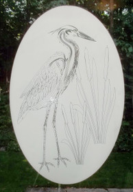 Heron Etched Pattern Decorative Window Decal
