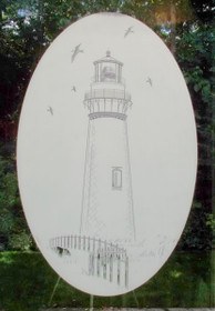 Lighthouse Etched Pattern Decorative Window Decal