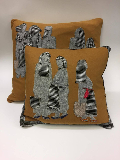 Wool and Tweed Feather Cushion