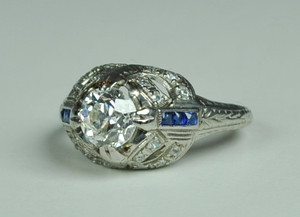Art Deco Platinum Engagement Ring .90 carats