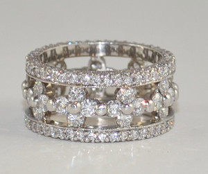 Modern Wide 18 karat White Gold Diamond Eternity Band